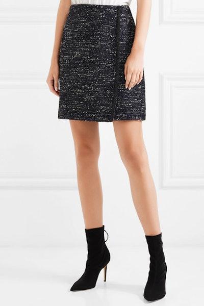 Tweed Wrap-Effect Mini Skirt