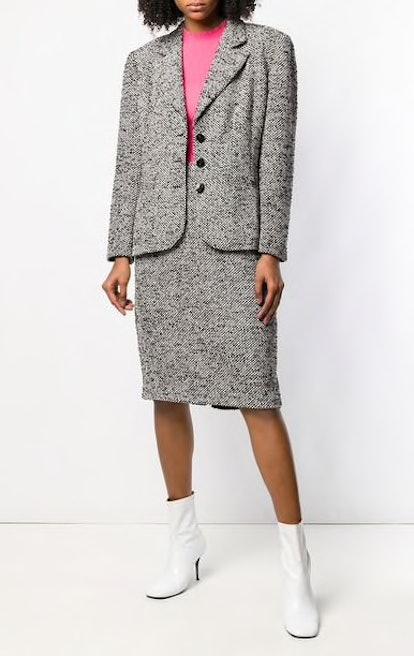 1990's Tweed Woven Skirt Suit