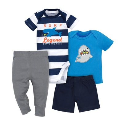 Gerber Baby 4-Piece Boys Shark Top, Pant & Short Set