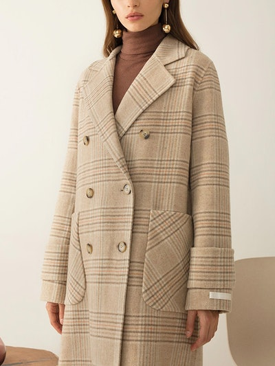 Tan Check Wool Coat