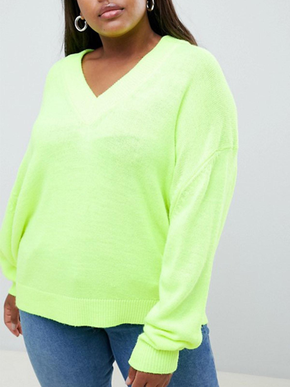 Oversized Fluro V-Neck Sweater
