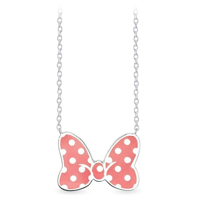 Minnie Mouse Bow Necklace Coral
