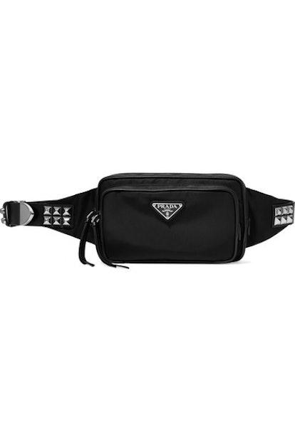 Vela Studded leather-trimmed shell belt bag