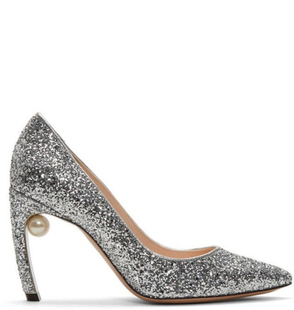 Silver Glitter Pearl Mira Heel