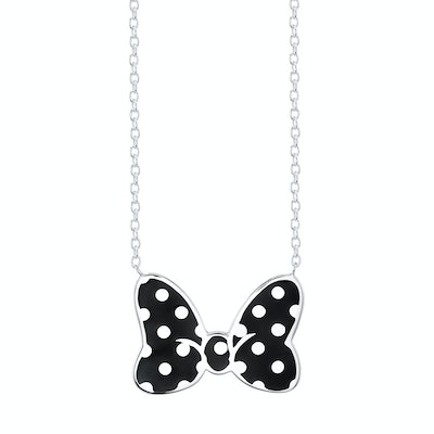 Minnie Mouse Bow Necklace Figaro Black Small