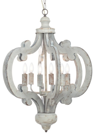Venice Distressed Wood Chandelier, White