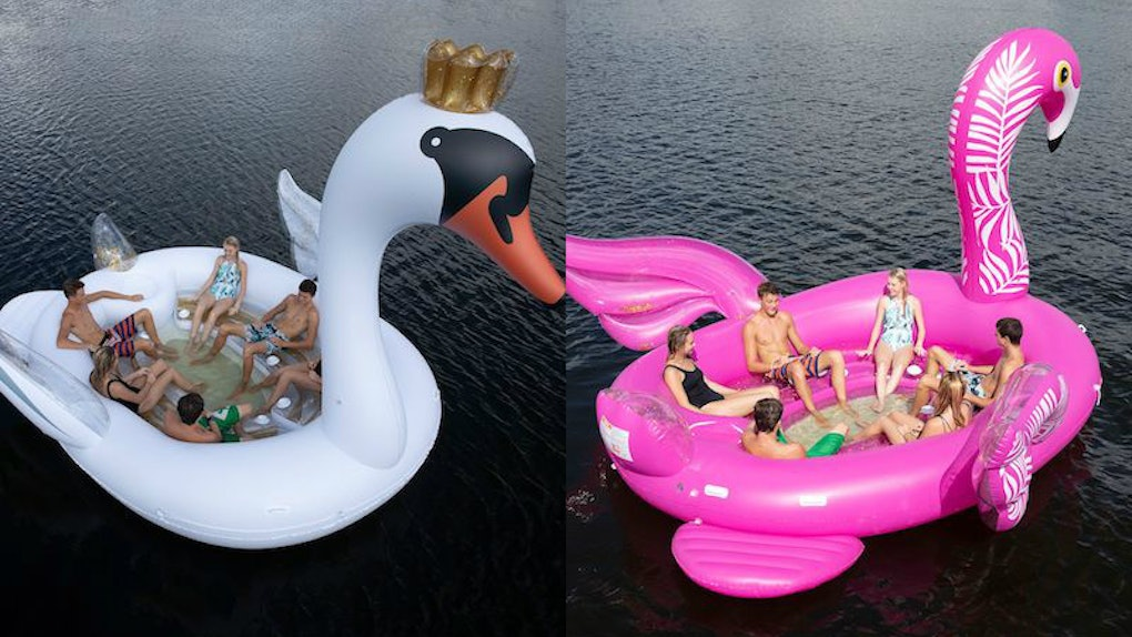 These New Inflatable Party Island Floats At Sams Club Feature Glitter Filled Swans Flamingos
