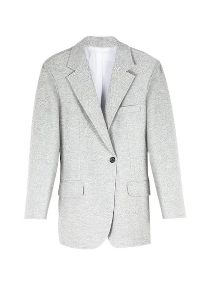Grey Tweed Single Button Blazer Dress