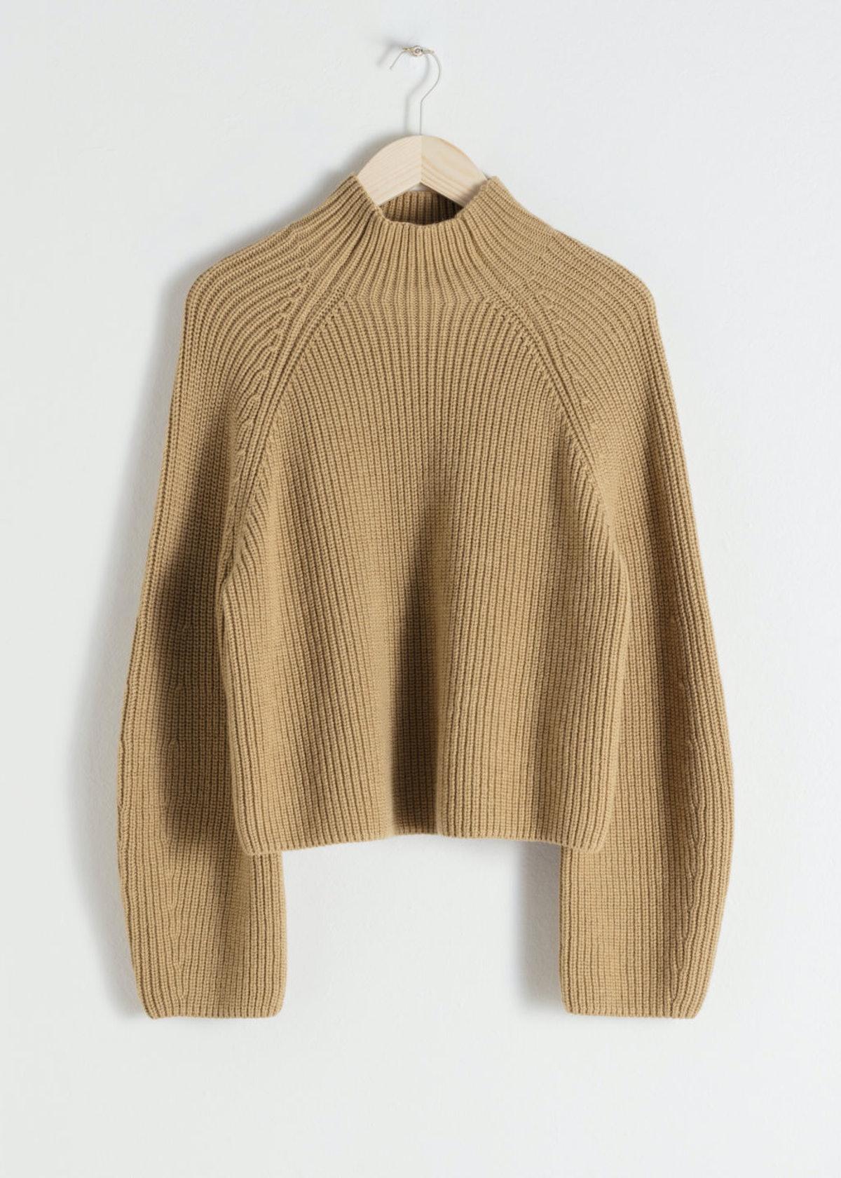 Wool Blend Mock Neck Sweater