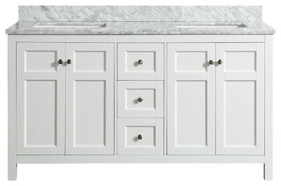 Adley White Bathroom Vanity With Marble Top, 61''