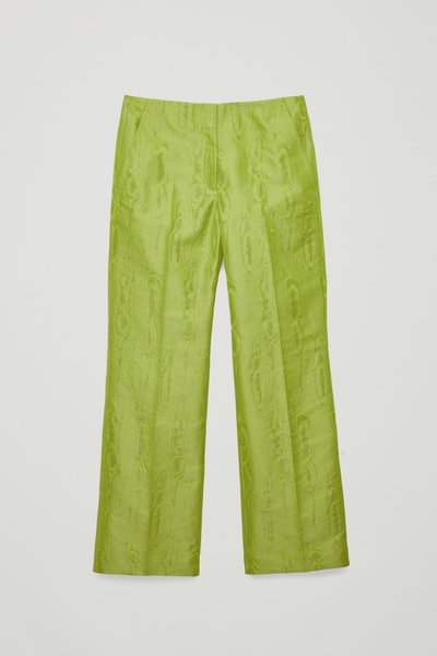 Moire- Pattern Woven Trousers
