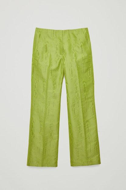Moire- Pattern Woven Trousers
