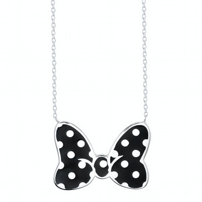 Minnie Mouse Bow Necklace Figaro Black Large