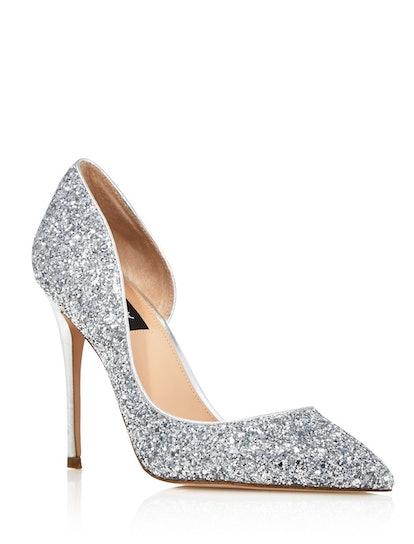 Dion Glitter Embellished High-Heel d'Orsay Pumps