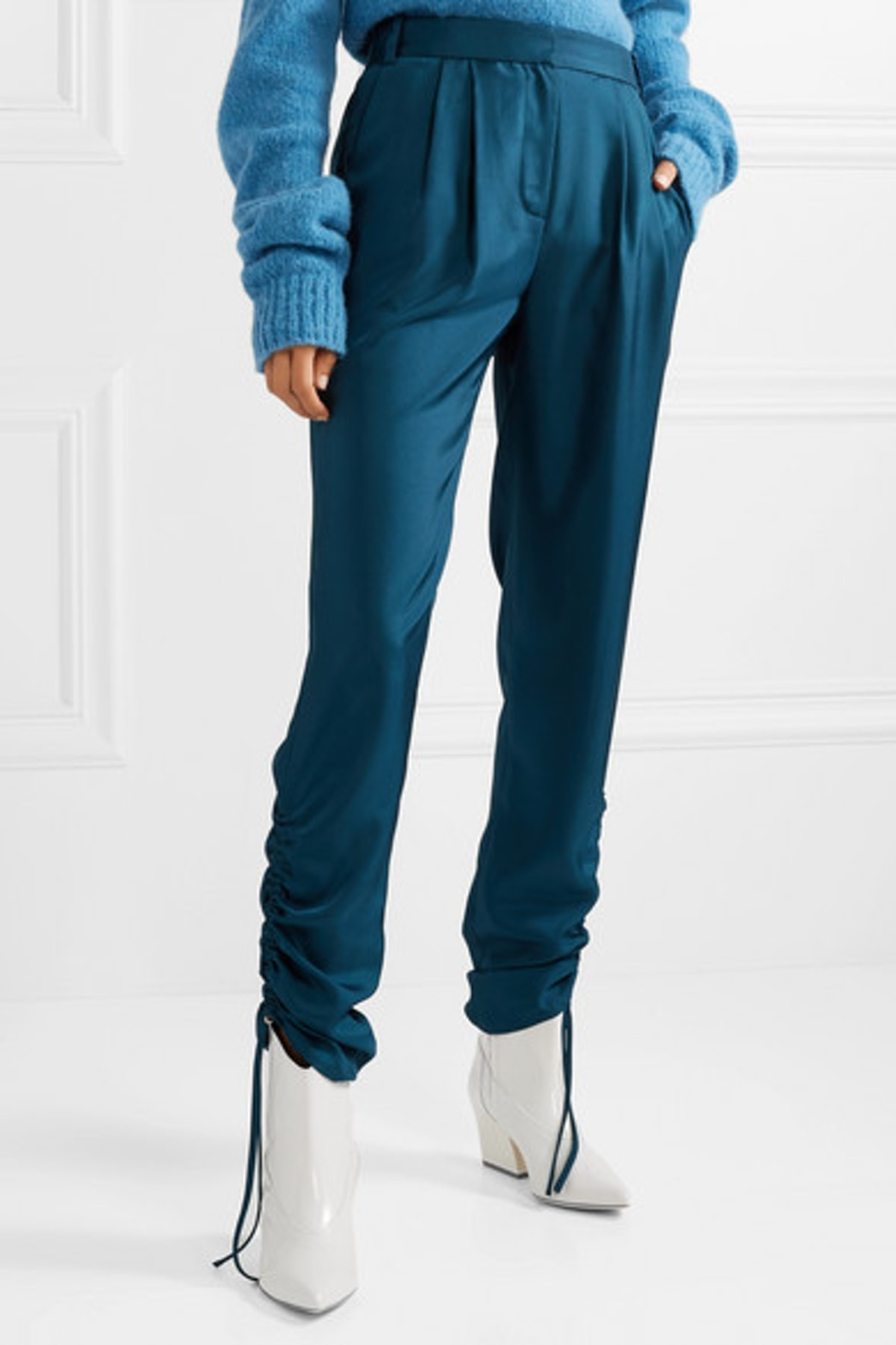 Ruched Satin-Twill Tapered Pants