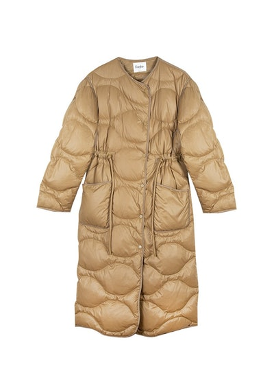 Collarless Tan Quilted Nylon Coat