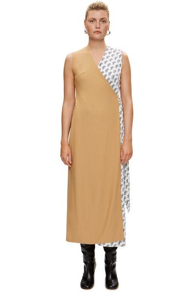 Wrap Dress in Two Fabrics