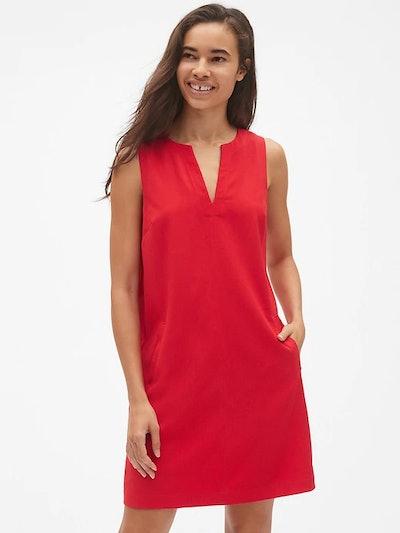 Sleeveless Split-Neck Shift Dress