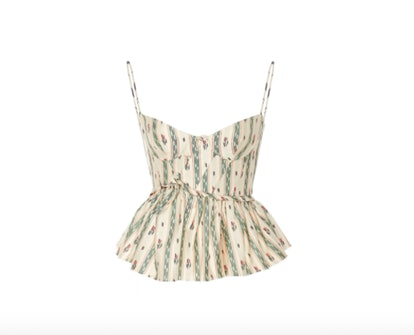 Brock Collection Peacock Bustier Cotton Top