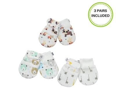 Darlyng & Co Anti-Scratch Newborn Baby Mittens , 0-6 months (3 pairs)