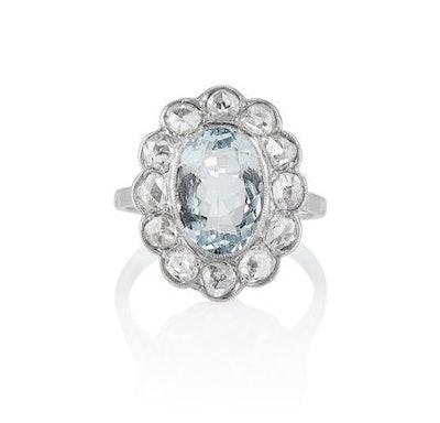 The Aquamarine & Diamond Halo Ring