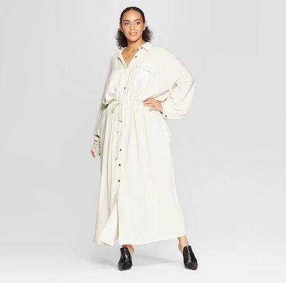 Women's Plus Size Long Sleeve Button-Up Drawstring Jacket - Who What Wear™ Khaki