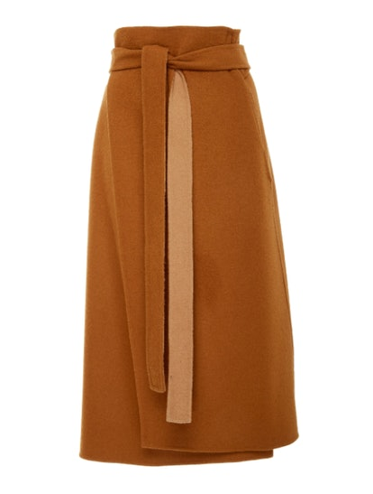 Deveaux High-Waisted Belted Wool Wrap Skirt
