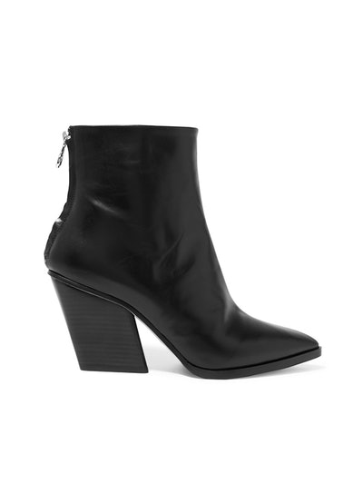 Cherry Leather Ankle Boots