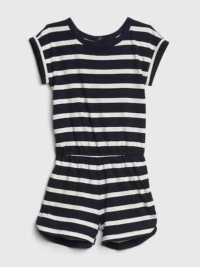 Girl's Stripe Short Sleeve Romper