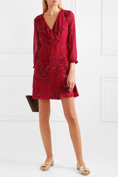 Wrap-Effect Floral-Print Crepe de Chine Mini Dress