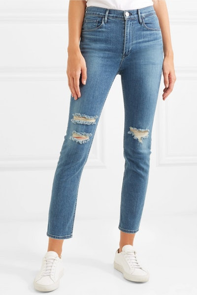 W4 Colette Cropped Distressed High-Rise Slim-Leg Jeans