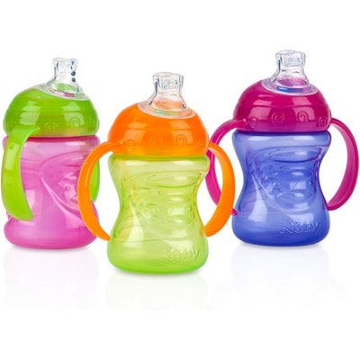 Nuby Grip N Sip Soft Spout Trainer Sippy Cup (3 pack)