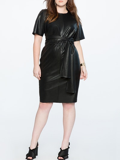 Studio Tie Waist Faux Leather Dress
