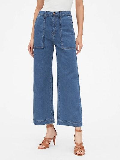 High Rise Utility Wide-Leg Crop Jeans