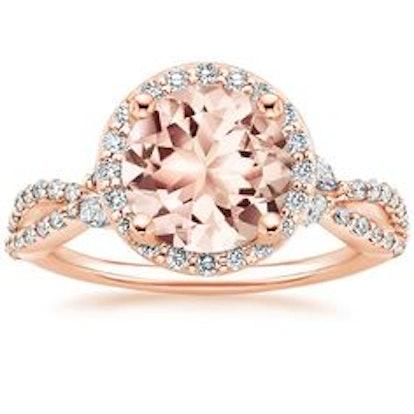 Morganite Lotus Flower Diamond Ring