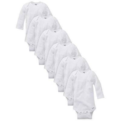 Organic Cotton Long Sleeve Onesies Bodysuits, Unisex  (6 Count)