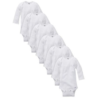 Organic Cotton Long Sleeve Onesies Bodysuits, Unisex  (6 Count)