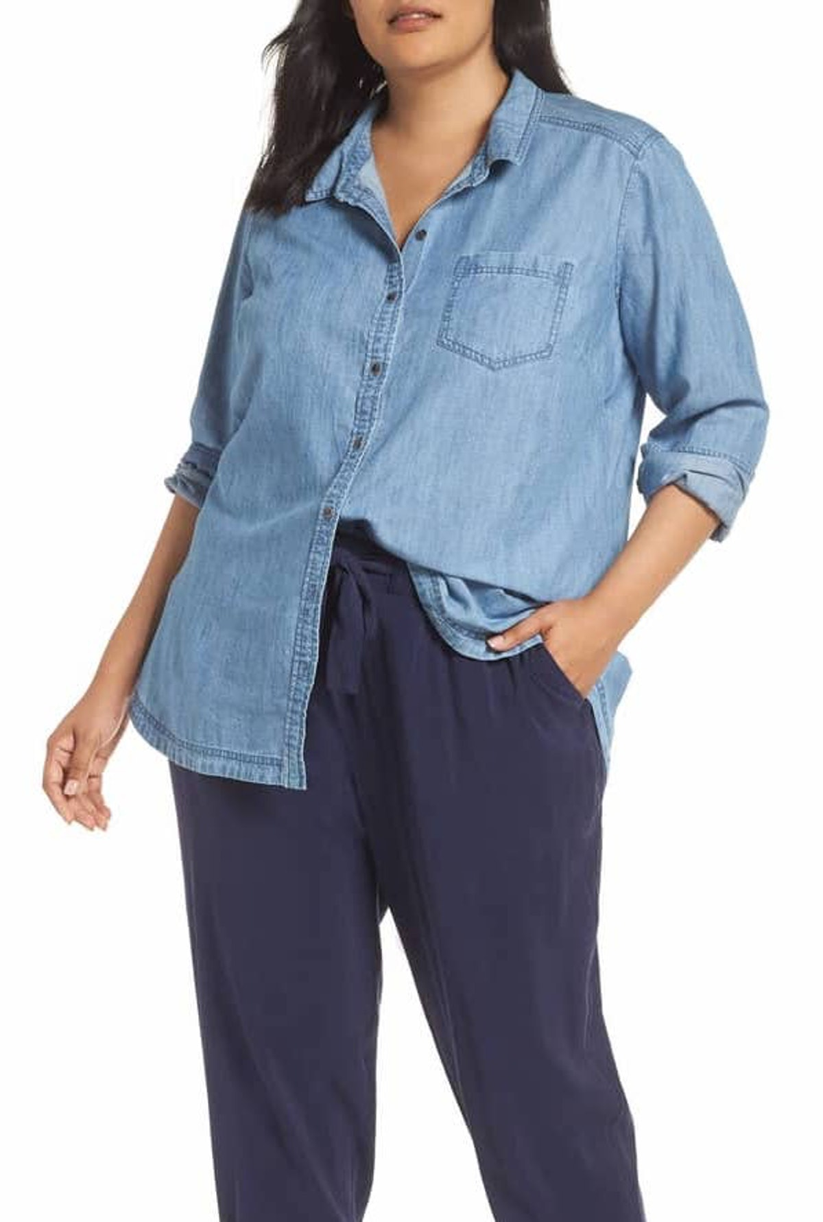 Button Front Chambray Shirt