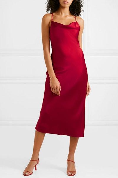 Open-Back Satin-Crepe Midi Dress