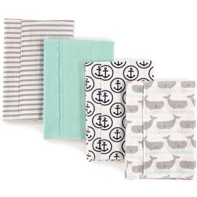 Hudson Baby Boy and Girl Flannel Burp Cloths, (4 Count)