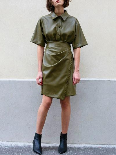 Khaki Green Leather Wrap Dress