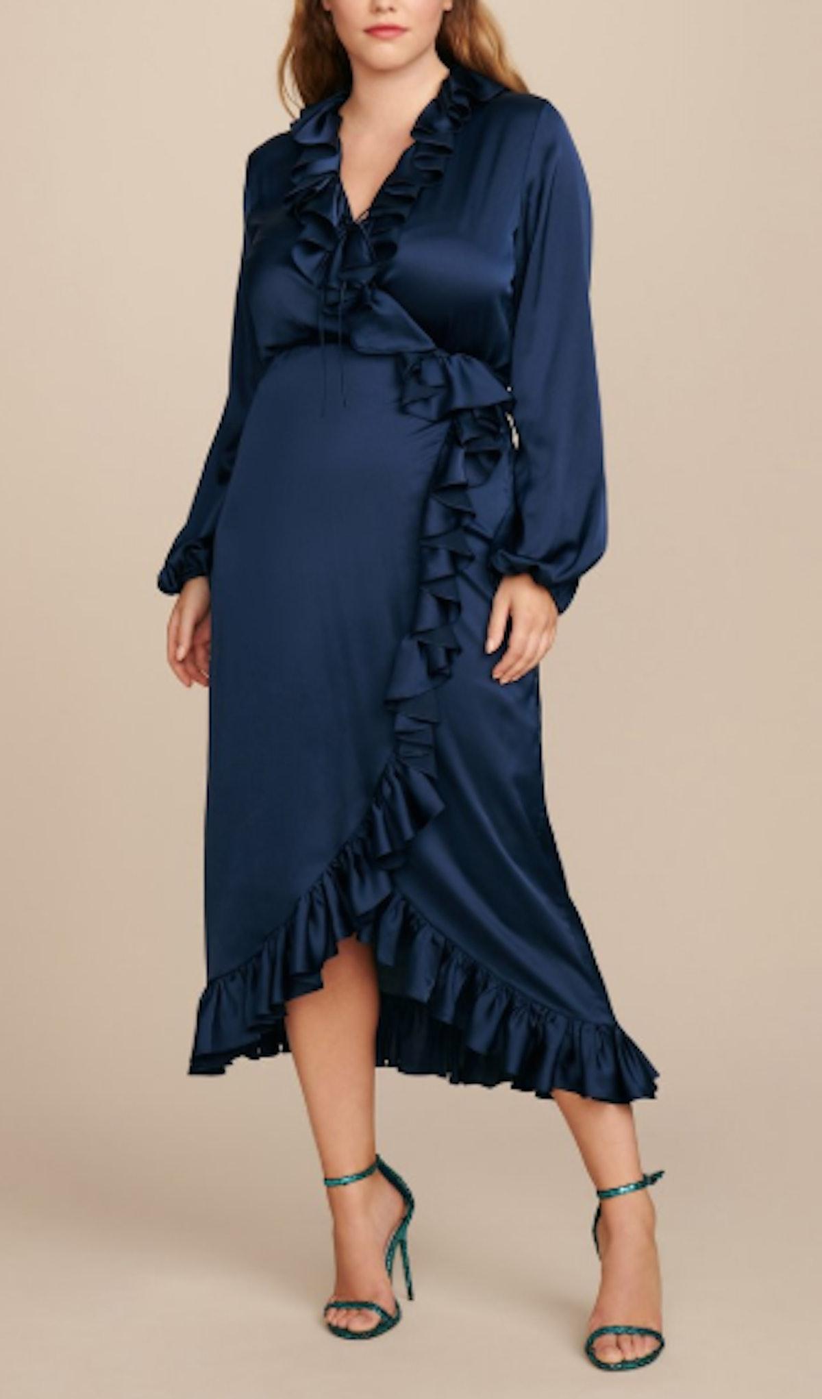 Long Sleeve Ruffle Wrap Dress