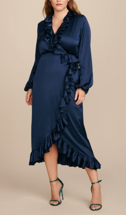 Long Sleeve Ruffle Wrap Dress