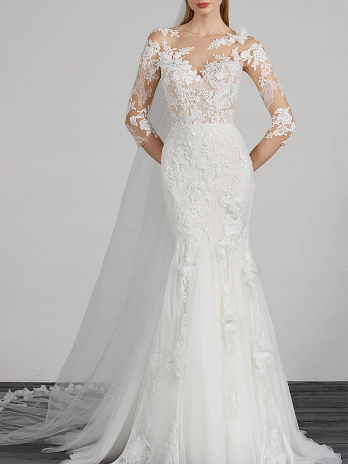 Maden Lace & Tulle Mermaid Gown