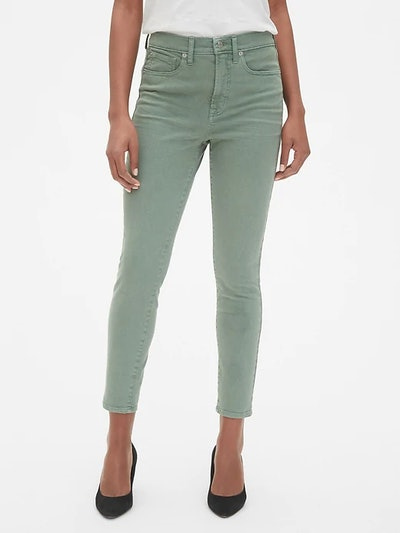 High Rise True Skinny Ankle Jeans In Sage