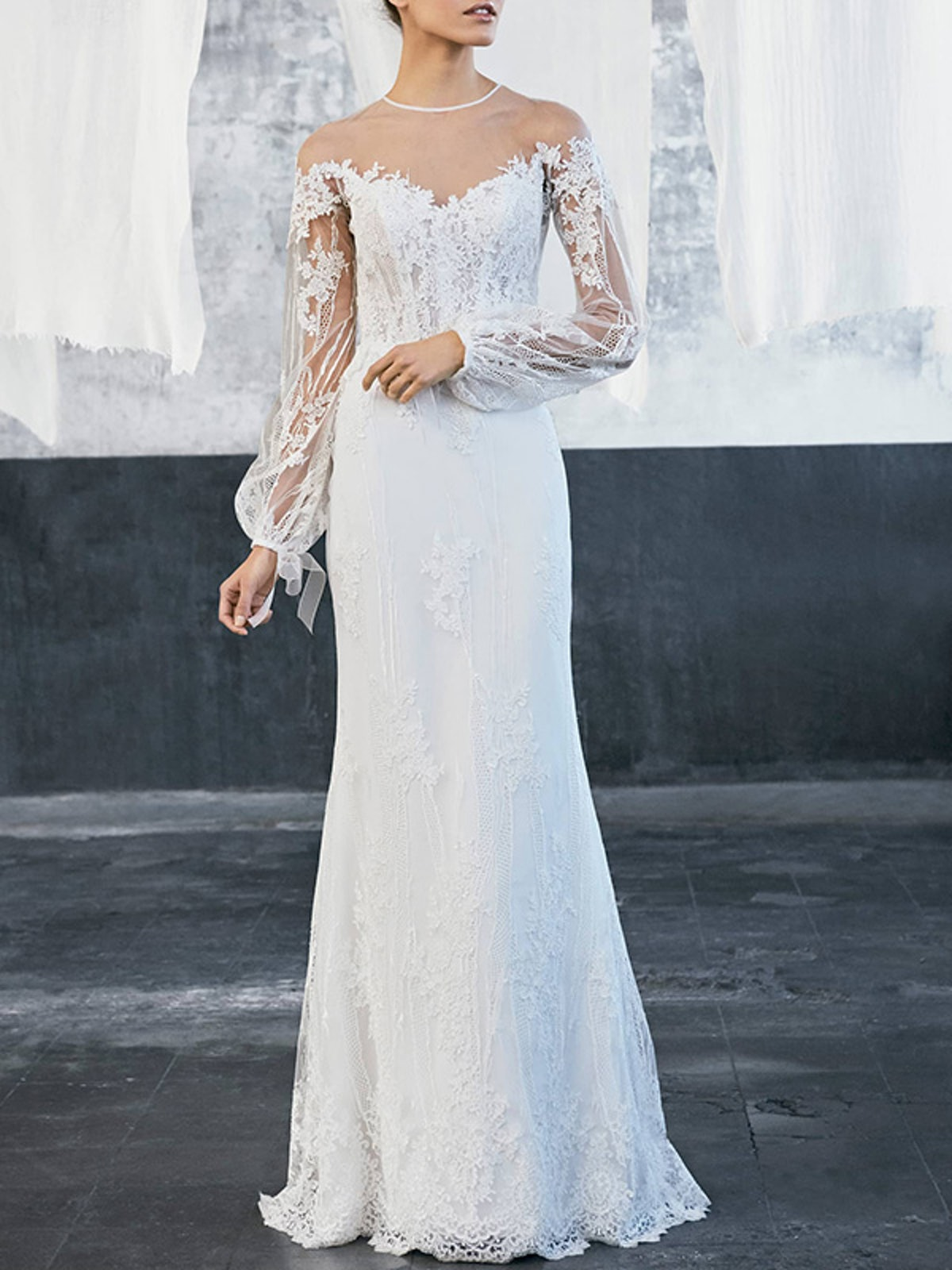 Tecate Puff Sleeve Embroidered Tulle & Lace Gown