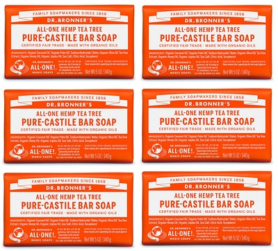 Dr. Bronner's Pure-Castile Bar Soap (6 Pack)