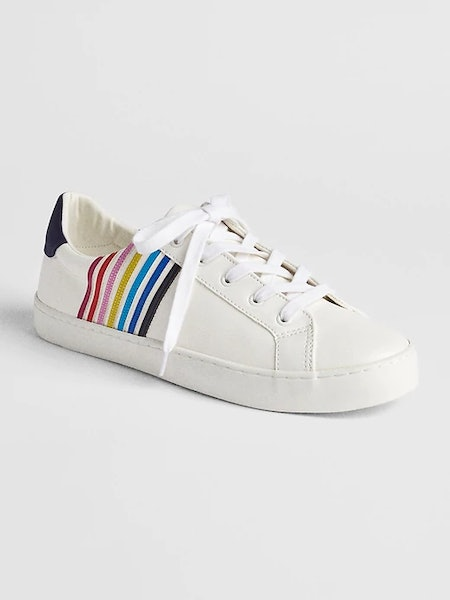 Mix-Fabric Lace-Up Sneakers