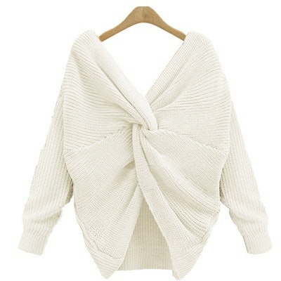 Vista V Neck Backless Long Sleeve Knitted Sweater for Women