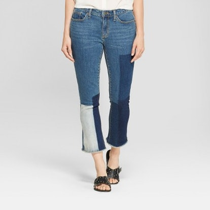 Women's Mid-Rise Patchwork Curvy Kick Bootcut Crop Jeans - Universal Thread Blue